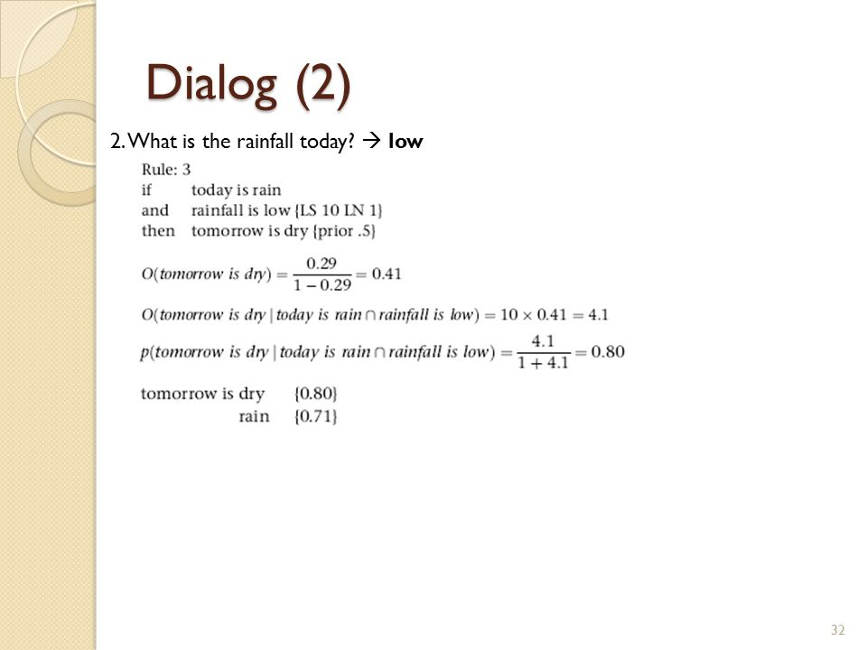 Dialog (2) 32 2. What is the rainfall today?  low