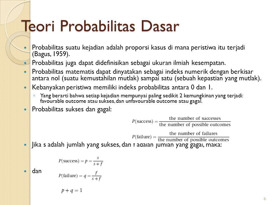 Teori Probabilitas Dasar Probabilitas suatu kejadian adalah proporsi kasus di mana peristiwa itu terjadi (Bagus, 1959).