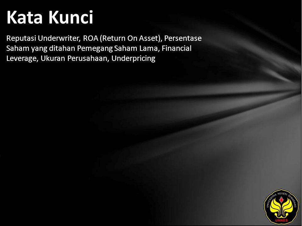 Kata Kunci Reputasi Underwriter, ROA (Return On Asset), Persentase Saham yang ditahan Pemegang Saham Lama, Financial Leverage, Ukuran Perusahaan, Underpricing