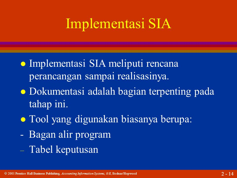  2001 Prentice Hall Business Publishing, Accounting Information Systems, 8/E, Bodnar/Hopwood 2 - 14 Implementasi SIA l Implementasi SIA meliputi rencana perancangan sampai realisasinya.