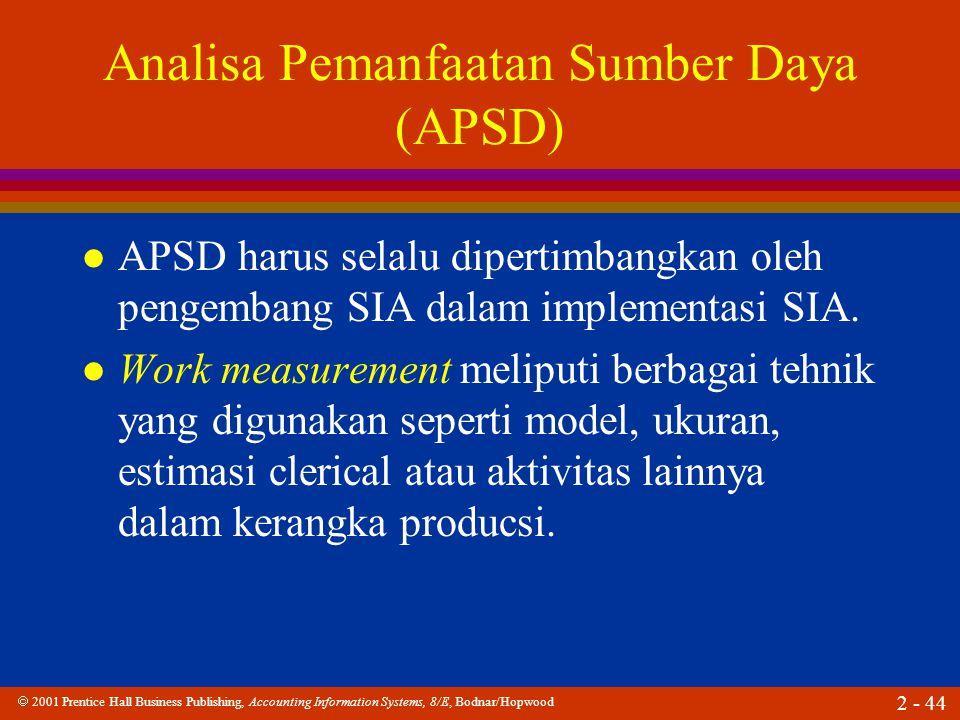  2001 Prentice Hall Business Publishing, Accounting Information Systems, 8/E, Bodnar/Hopwood 2 - 44 Analisa Pemanfaatan Sumber Daya (APSD) l APSD harus selalu dipertimbangkan oleh pengembang SIA dalam implementasi SIA.