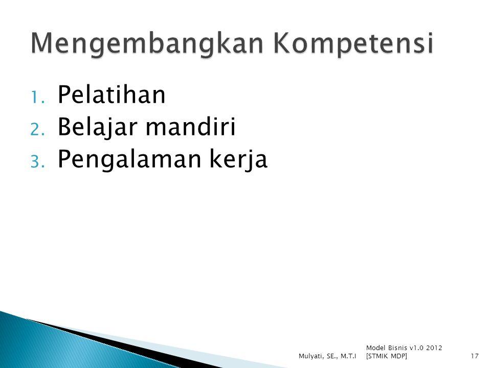 1. Pelatihan 2. Belajar mandiri 3. Pengalaman kerja Model Bisnis v1.0 2012 [STMIK MDP] Mulyati, SE., M.T.I17
