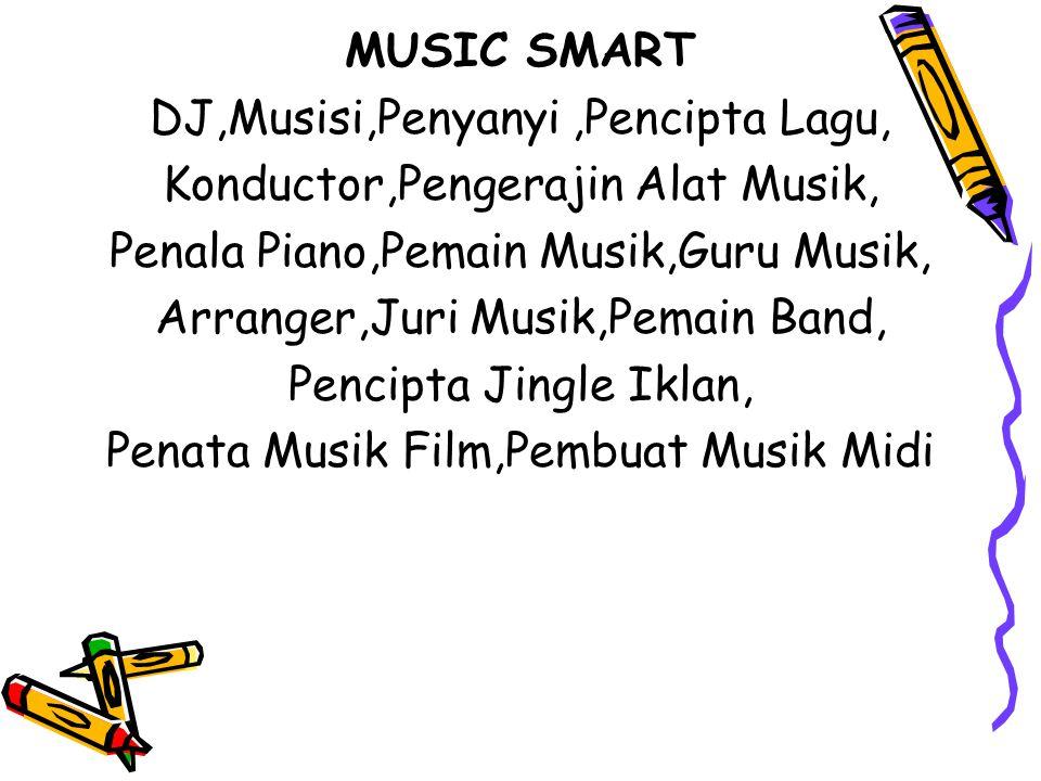 MUSIC SMART DJ,Musisi,Penyanyi,Pencipta Lagu, Konductor,Pengerajin Alat Musik, Penala Piano,Pemain Musik,Guru Musik, Arranger,Juri Musik,Pemain Band, Pencipta Jingle Iklan, Penata Musik Film,Pembuat Musik Midi