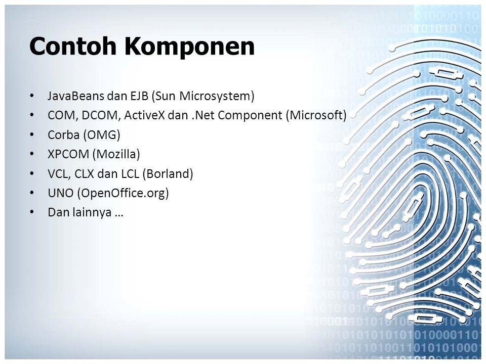 Contoh Komponen JavaBeans dan EJB (Sun Microsystem) COM, DCOM, ActiveX dan.Net Component (Microsoft) Corba (OMG) XPCOM (Mozilla) VCL, CLX dan LCL (Bor