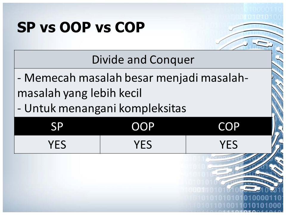 SP vs OOP vs COP Divide and Conquer - Memecah masalah besar menjadi masalah- masalah yang lebih kecil - Untuk menangani kompleksitas SPOOPCOP YES