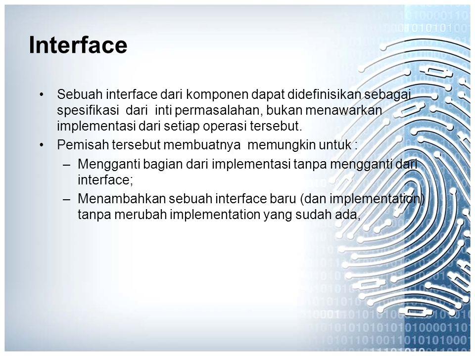 Interface Sebuah interface dari komponen dapat didefinisikan sebagai spesifikasi dari inti permasalahan, bukan menawarkan implementasi dari setiap ope
