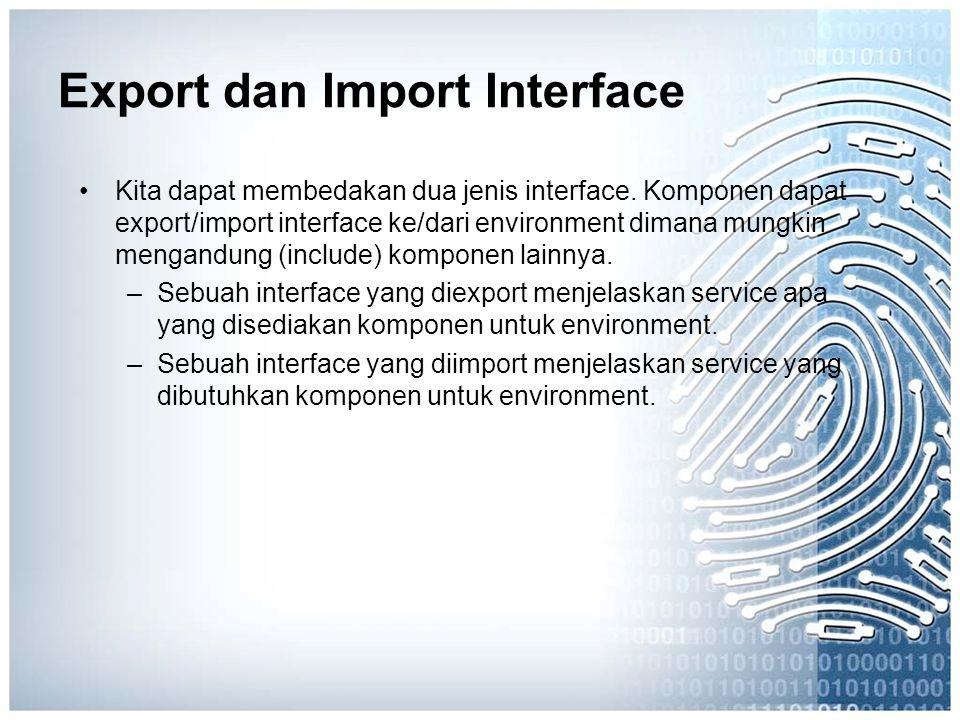 Export dan Import Interface Kita dapat membedakan dua jenis interface. Komponen dapat export/import interface ke/dari environment dimana mungkin menga