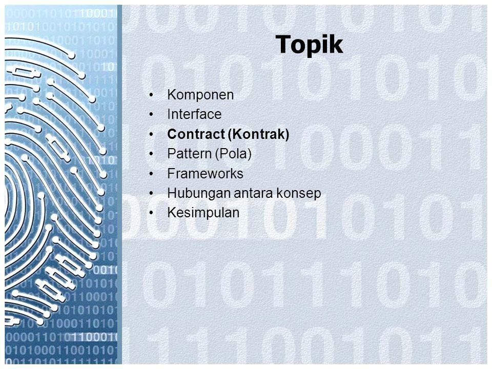 Topik Komponen Interface Contract (Kontrak) Pattern (Pola) Frameworks Hubungan antara konsep Kesimpulan