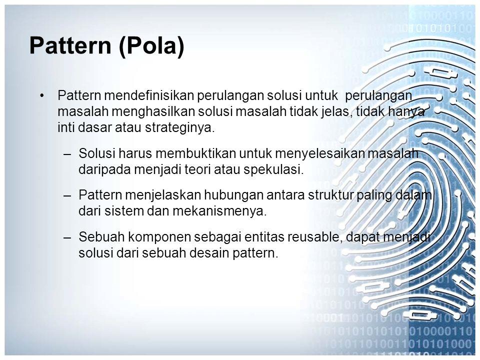 Pattern (Pola) Pattern mendefinisikan perulangan solusi untuk perulangan masalah menghasilkan solusi masalah tidak jelas, tidak hanya inti dasar atau