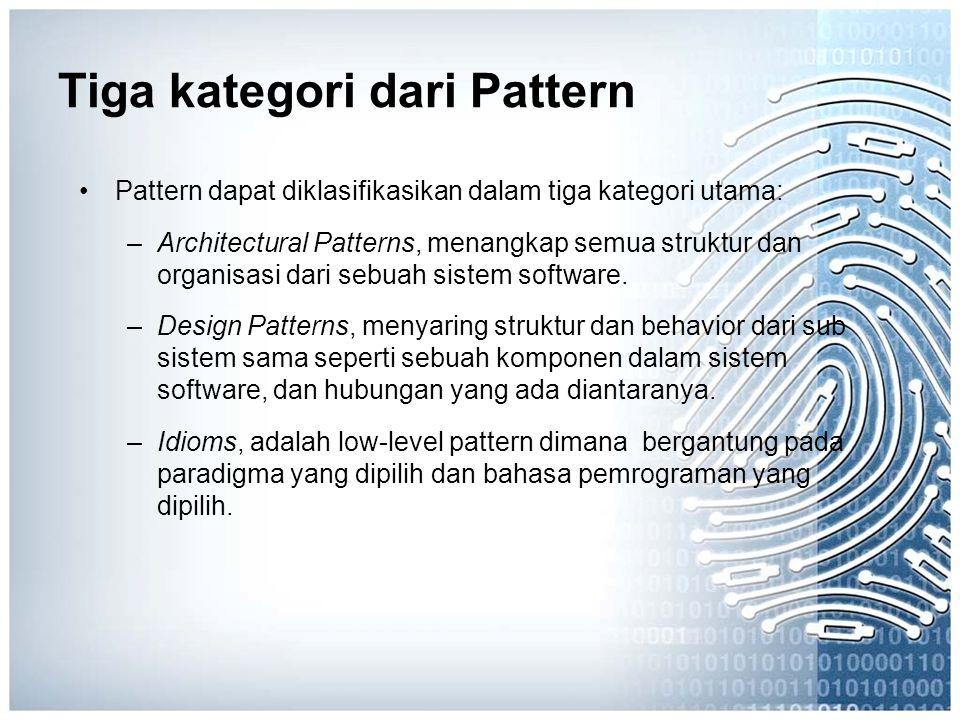 Tiga kategori dari Pattern Pattern dapat diklasifikasikan dalam tiga kategori utama: –Architectural Patterns, menangkap semua struktur dan organisasi