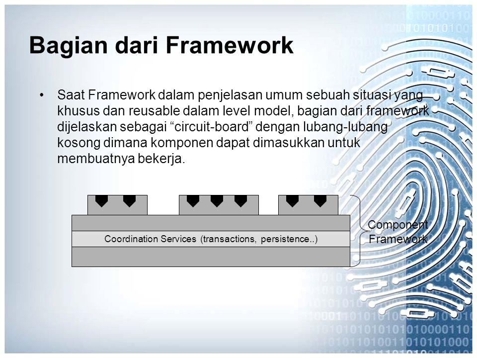 Bagian dari Framework Saat Framework dalam penjelasan umum sebuah situasi yang khusus dan reusable dalam level model, bagian dari framework dijelaskan