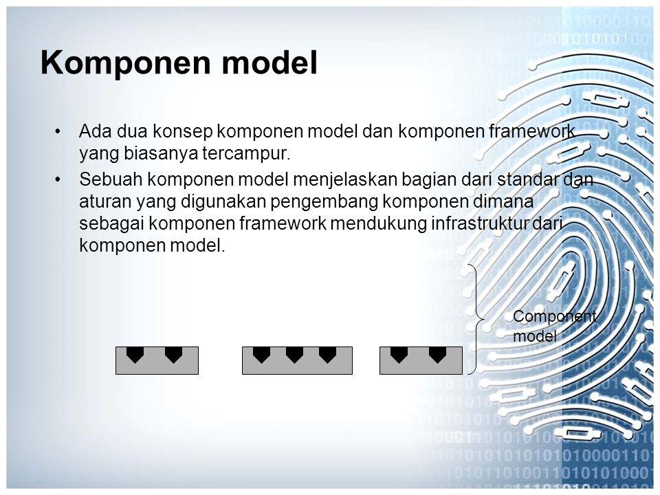 Komponen model Ada dua konsep komponen model dan komponen framework yang biasanya tercampur. Sebuah komponen model menjelaskan bagian dari standar dan