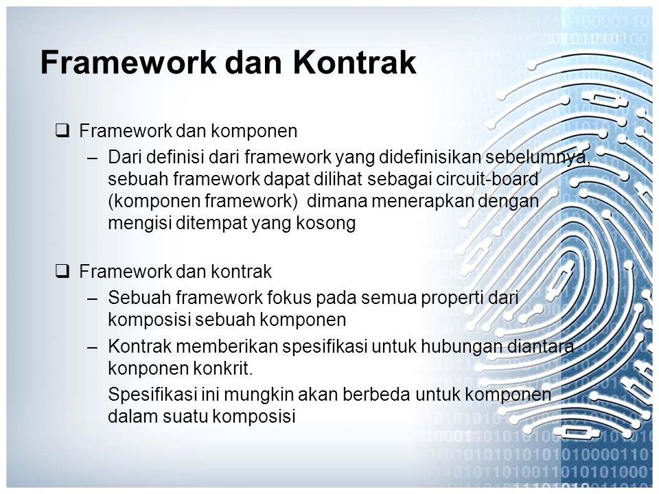 Framework dan Kontrak  Framework dan komponen –Dari definisi dari framework yang didefinisikan sebelumnya, sebuah framework dapat dilihat sebagai cir