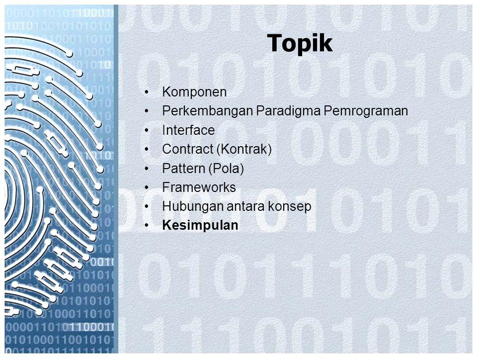 Topik Komponen Perkembangan Paradigma Pemrograman Interface Contract (Kontrak) Pattern (Pola) Frameworks Hubungan antara konsep Kesimpulan