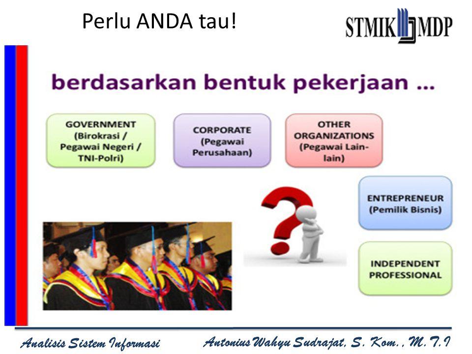 Analisis Sistem Informasi Program Studi Sistem Informasi Sekolah Tinggi Manajemen Informatika dan Komputer MDP Analisis Sistem Informasi Antonius Wahyu Sudrajat, S.