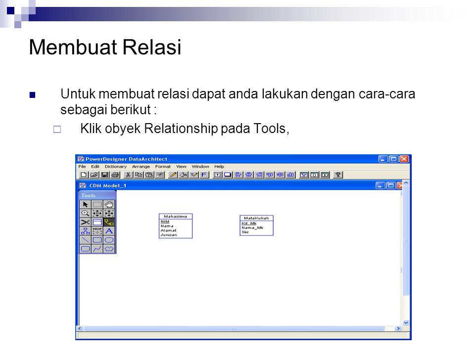 Membuat Relasi Untuk membuat relasi dapat anda lakukan dengan cara-cara sebagai berikut :  Klik obyek Relationship pada Tools,