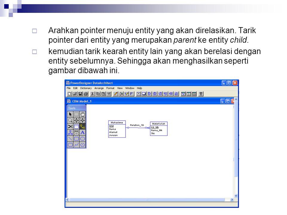  Arahkan pointer menuju entity yang akan direlasikan. Tarik pointer dari entity yang merupakan parent ke entity child.  kemudian tarik kearah entity