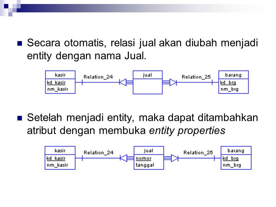 Secara otomatis, relasi jual akan diubah menjadi entity dengan nama Jual. Setelah menjadi entity, maka dapat ditambahkan atribut dengan membuka entity