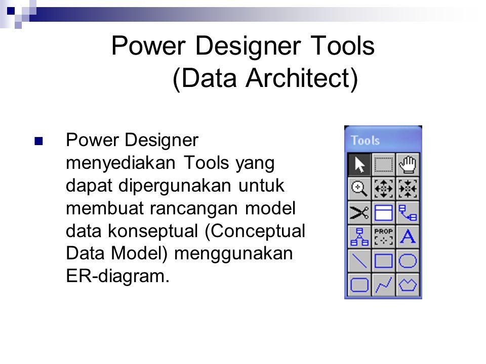 Power Designer Tools (Data Architect) Power Designer menyediakan Tools yang dapat dipergunakan untuk membuat rancangan model data konseptual (Conceptu