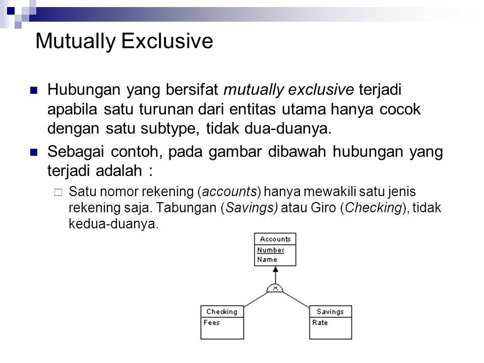 Mutually Exclusive Hubungan yang bersifat mutually exclusive terjadi apabila satu turunan dari entitas utama hanya cocok dengan satu subtype, tidak du