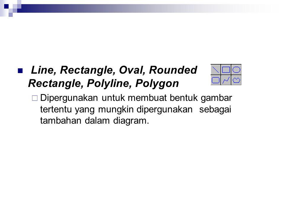 Line, Rectangle, Oval, Rounded Rectangle, Polyline, Polygon  Dipergunakan untuk membuat bentuk gambar tertentu yang mungkin dipergunakan sebagai tamb