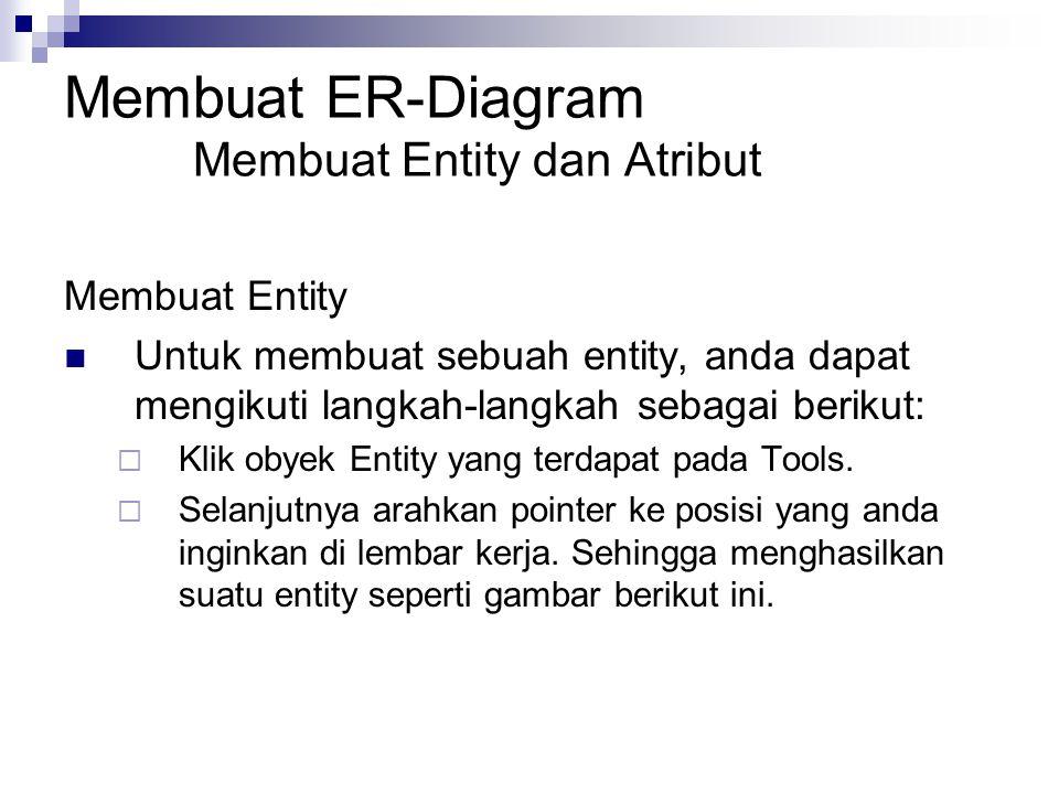 Membuat ER-Diagram Membuat Entity dan Atribut Membuat Entity Untuk membuat sebuah entity, anda dapat mengikuti langkah-langkah sebagai berikut:  Klik