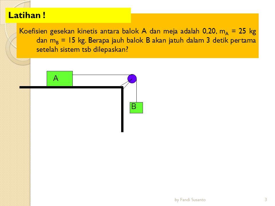 Koefisien gesekan kinetis antara balok A dan meja adalah 0,20, m A = 25 kg dan m B = 15 kg. Berapa jauh balok B akan jatuh dalam 3 detik pertama setel