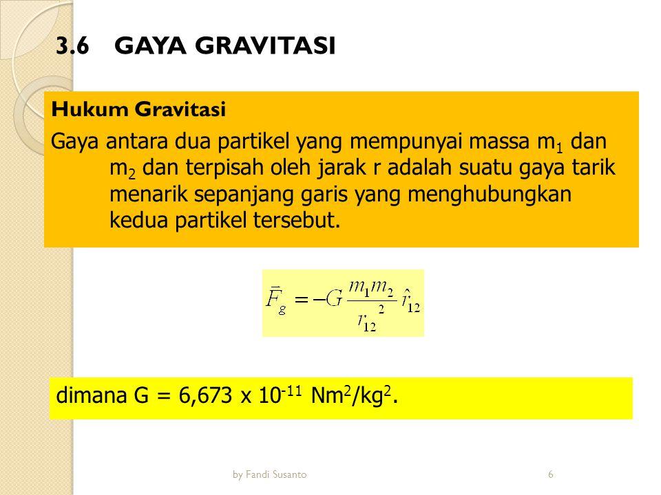 Perubahan percepatan gravitasi dengan ketinggian Jika m 1 diambil sebagai massa bumi M B, dan m 2 diambil sebagai massa benda m, maka gaya tarik oleh bumi pada benda (dengan r adalah jarak benda ke pusat bumi) adalah : Menurut hukum II newton, gaya tarik bumi akan menyebabkan percepatan g menurut hubungan F = mg, sehingga percepatan gravitasi g dapat dituliskan sebagai Jari-jari bumi: 6.357 Km sampai 6.378 Km 7by Fandi Susanto