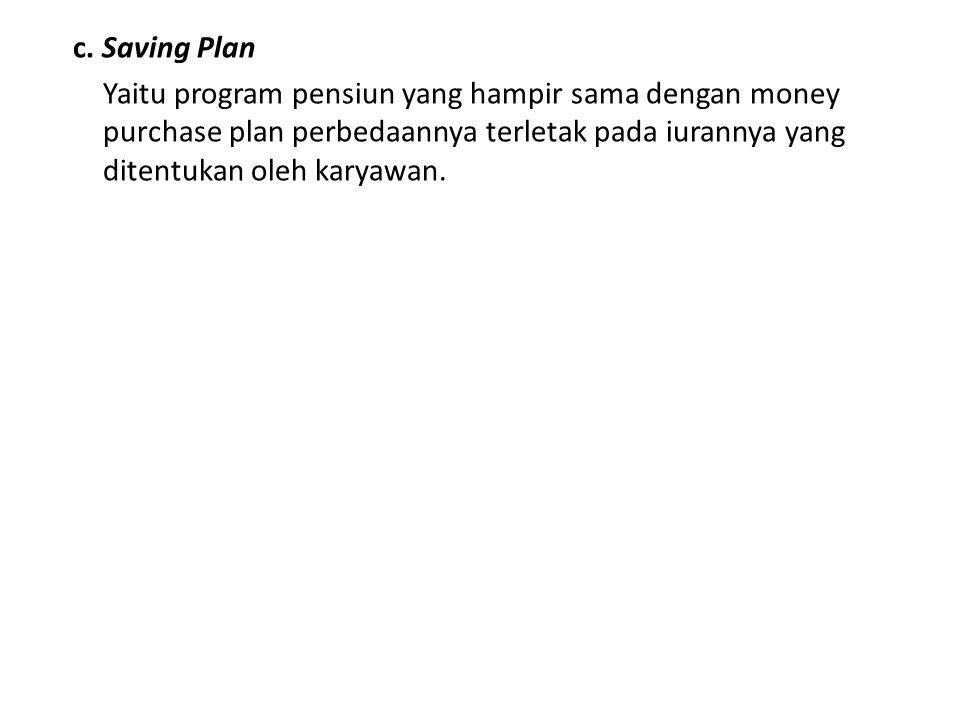 c. Saving Plan Yaitu program pensiun yang hampir sama dengan money purchase plan perbedaannya terletak pada iurannya yang ditentukan oleh karyawan.