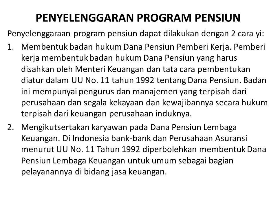 PENYELENGGARAN PROGRAM PENSIUN Penyelenggaraan program pensiun dapat dilakukan dengan 2 cara yi: 1.Membentuk badan hukum Dana Pensiun Pemberi Kerja. P