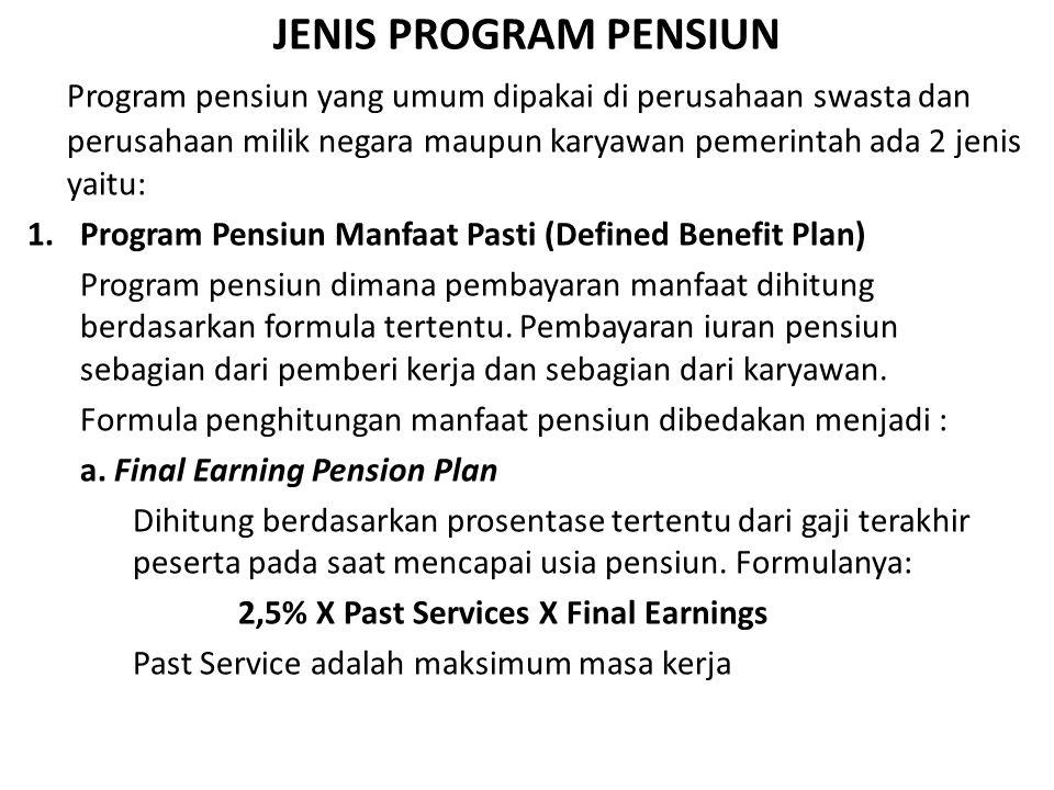 JENIS PROGRAM PENSIUN Program pensiun yang umum dipakai di perusahaan swasta dan perusahaan milik negara maupun karyawan pemerintah ada 2 jenis yaitu: