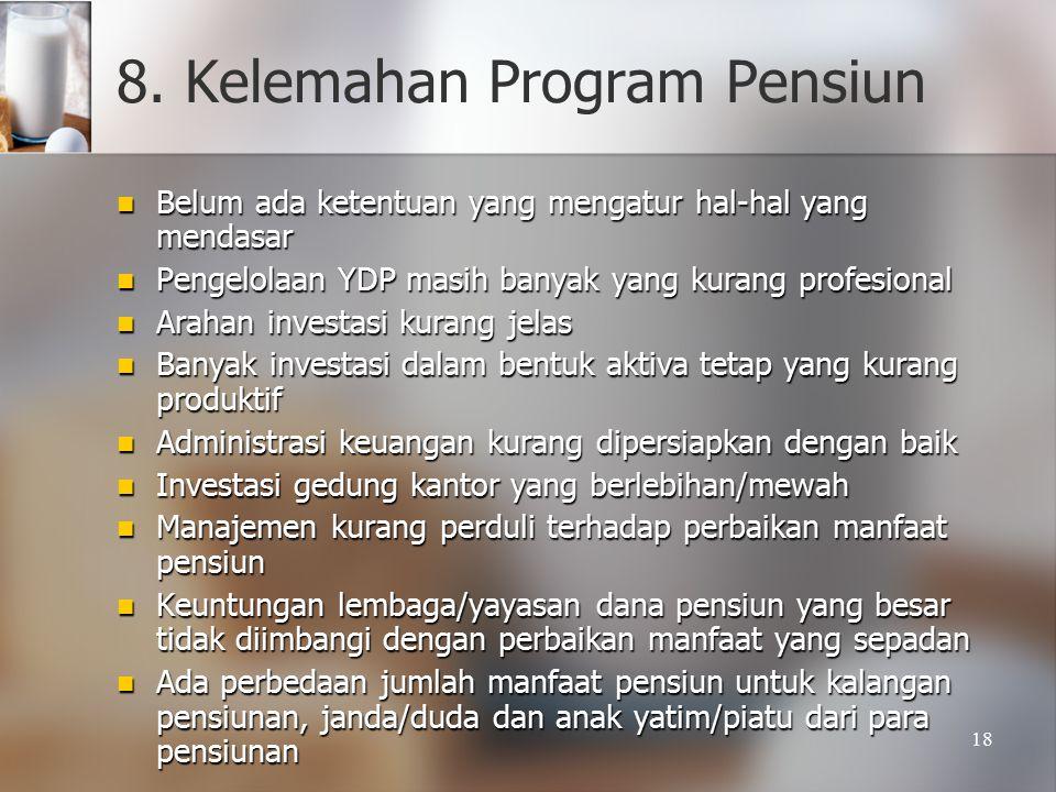 18 8. Kelemahan Program Pensiun Belum ada ketentuan yang mengatur hal-hal yang mendasar Belum ada ketentuan yang mengatur hal-hal yang mendasar Pengel