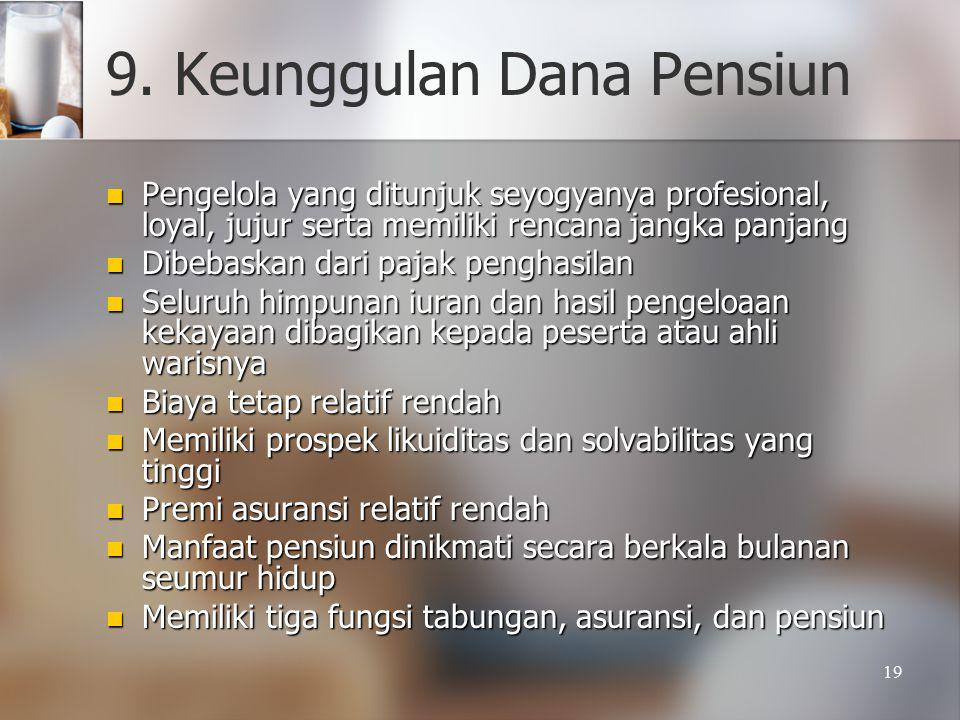 19 9. Keunggulan Dana Pensiun Pengelola yang ditunjuk seyogyanya profesional, loyal, jujur serta memiliki rencana jangka panjang Pengelola yang ditunj