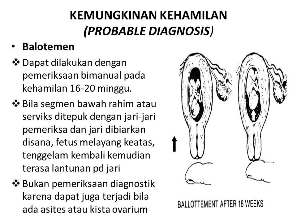 KEMUNGKINAN KEHAMILAN (PROBABLE DIAGNOSIS) Balotemen  Dapat dilakukan dengan pemeriksaan bimanual pada kehamilan 16-20 minggu.  Bila segmen bawah ra