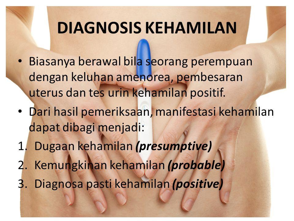 KEMUNGKINAN KEHAMILAN (PROBABLE DIAGNOSIS) Pembesaran abdomen  Terjadi secara progresif dari kehamilan 7-28 minggu  Minggu ke 16-22 uterus keluar panggul mengisi rongga abdomen