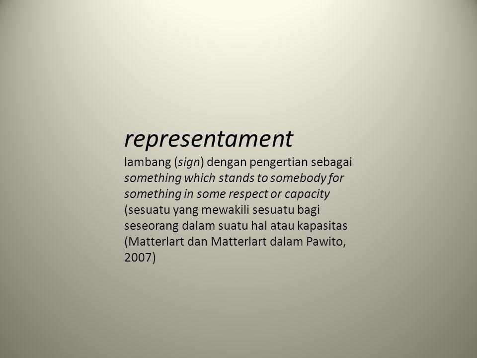 representament lambang (sign) dengan pengertian sebagai something which stands to somebody for something in some respect or capacity (sesuatu yang mew