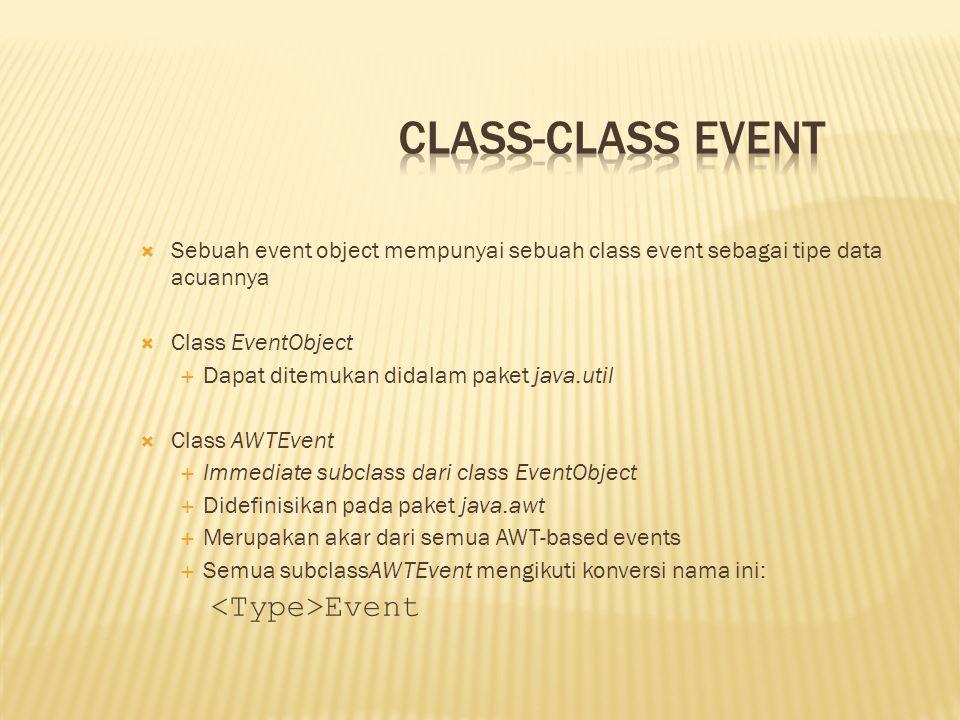  Sebuah event object mempunyai sebuah class event sebagai tipe data acuannya  Class EventObject  Dapat ditemukan didalam paket java.util  Class AW