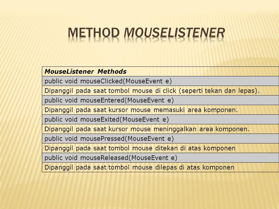 MouseListener Methods public void mouseClicked(MouseEvent e) Dipanggil pada saat tombol mouse di click (seperti tekan dan lepas). public void mouseEnt