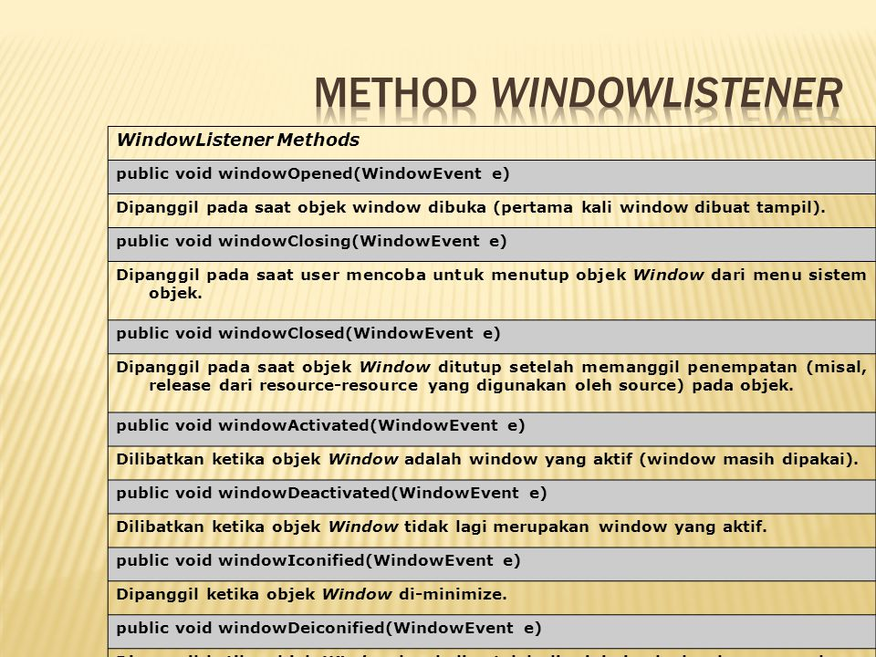 WindowListener Methods public void windowOpened(WindowEvent e) Dipanggil pada saat objek window dibuka (pertama kali window dibuat tampil). public voi