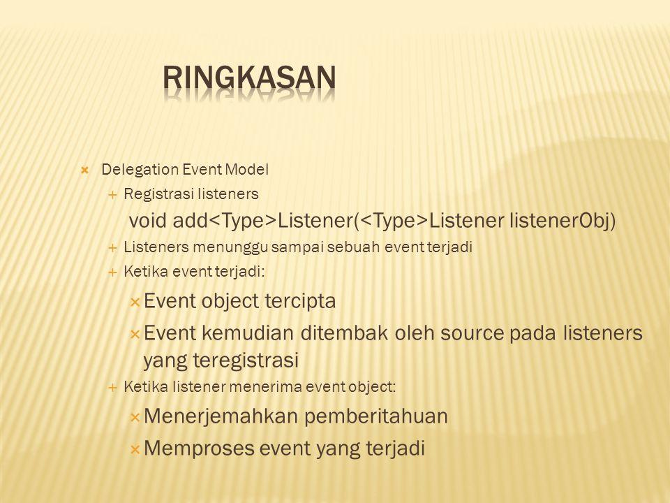  Delegation Event Model  Registrasi listeners void add Listener( Listener listenerObj)  Listeners menunggu sampai sebuah event terjadi  Ketika eve