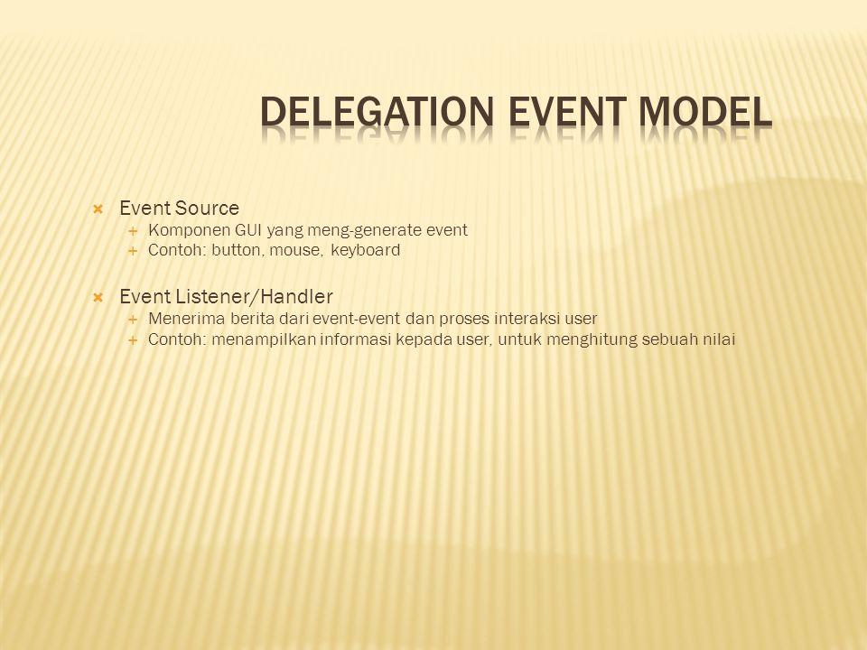  Event Object  Ketika sebuah event terjadi (misal, ketika user berinteraksi dengan komponen GUI), sebuah objek event diciptakan  Berisi semua informasi yang perlu tentang event yang telah terjadi  Tipe dari event yang telah terjadi  Source dari event  Memungkinkan mempunyai class event sebagai tipe data