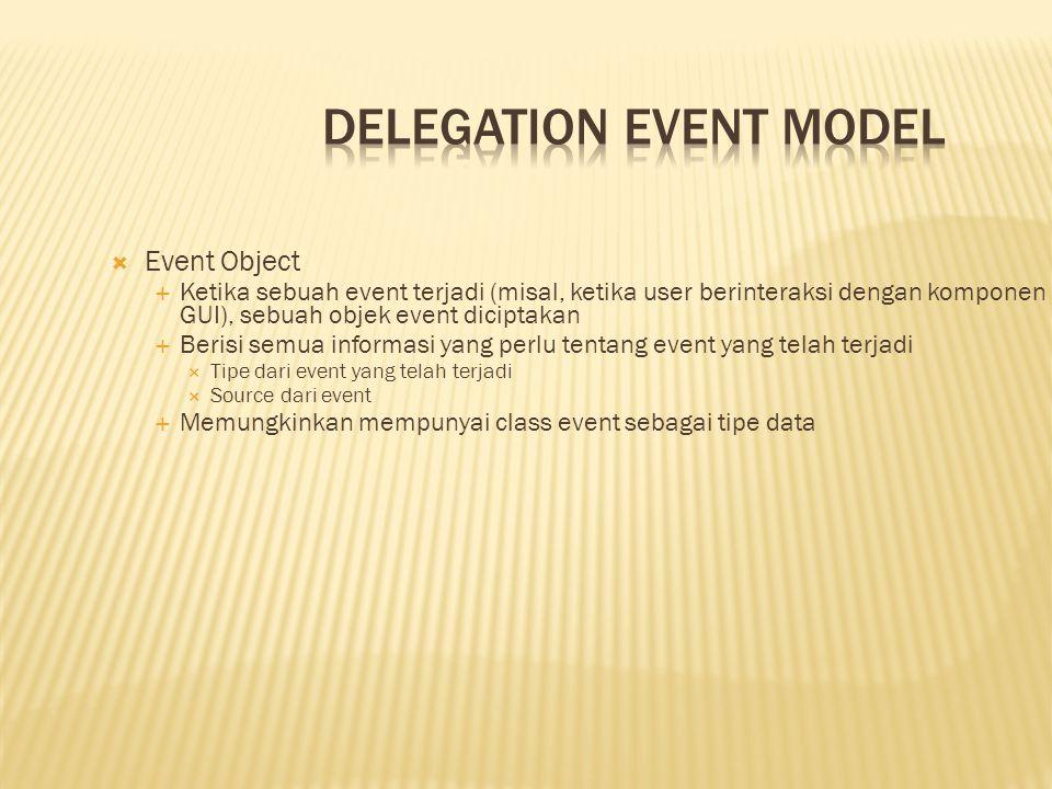  Event Object  Ketika sebuah event terjadi (misal, ketika user berinteraksi dengan komponen GUI), sebuah objek event diciptakan  Berisi semua infor