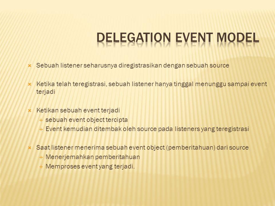  Komponen Delegation Event Model  Event Source  Event Listener/Handler  Event Object  Class-class Event  Class EventObject  Class AWTEvent  Merupakan akar dari semua AWT-based event  semua subclass AWTEvent mengikuti konvensi nama ini: Event