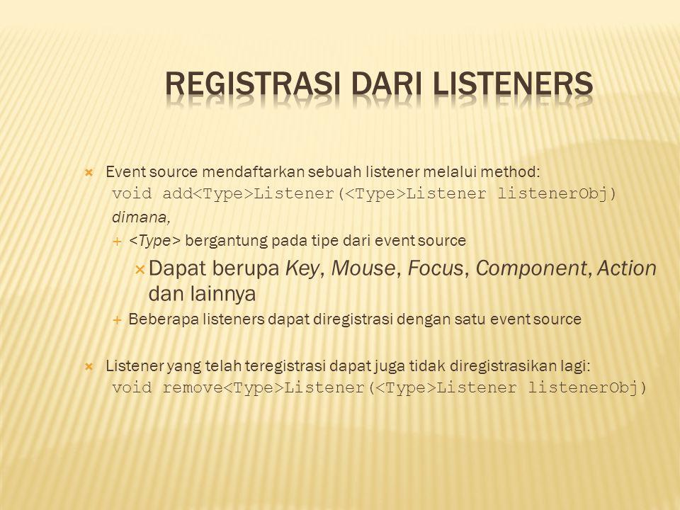  Event source mendaftarkan sebuah listener melalui method: void add Listener( Listener listenerObj) dimana,  bergantung pada tipe dari event source