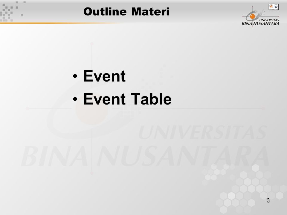 3 Outline Materi Event Event Table