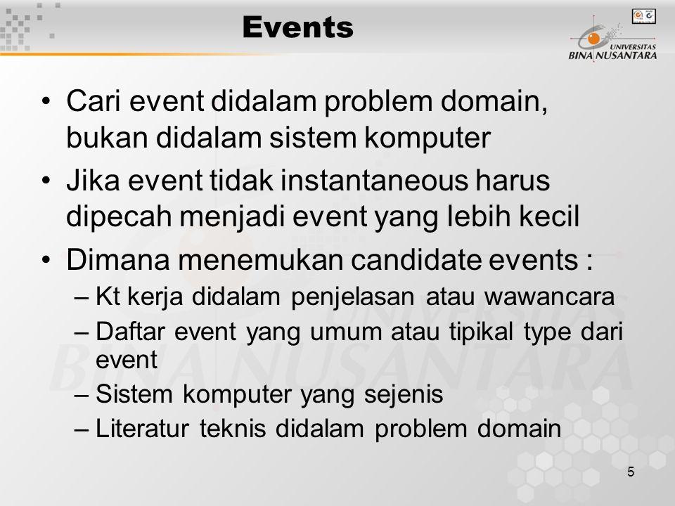 5 Events Cari event didalam problem domain, bukan didalam sistem komputer Jika event tidak instantaneous harus dipecah menjadi event yang lebih kecil