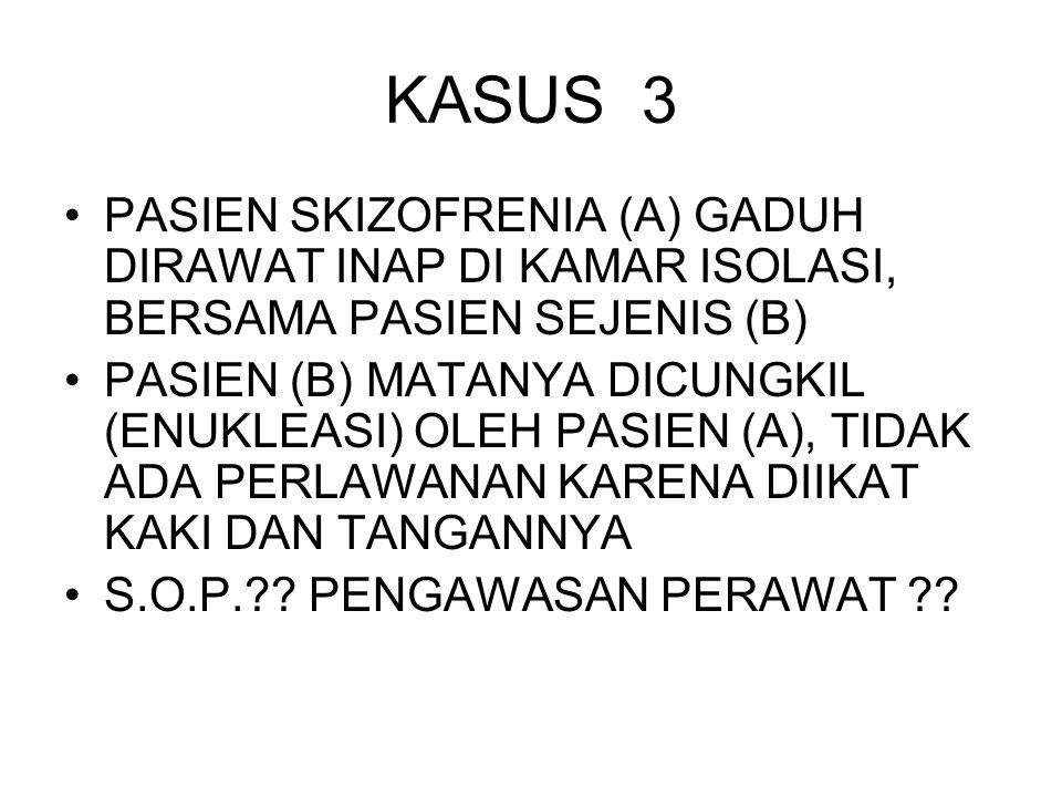KASUS 3 PASIEN SKIZOFRENIA (A) GADUH DIRAWAT INAP DI KAMAR ISOLASI, BERSAMA PASIEN SEJENIS (B) PASIEN (B) MATANYA DICUNGKIL (ENUKLEASI) OLEH PASIEN (A