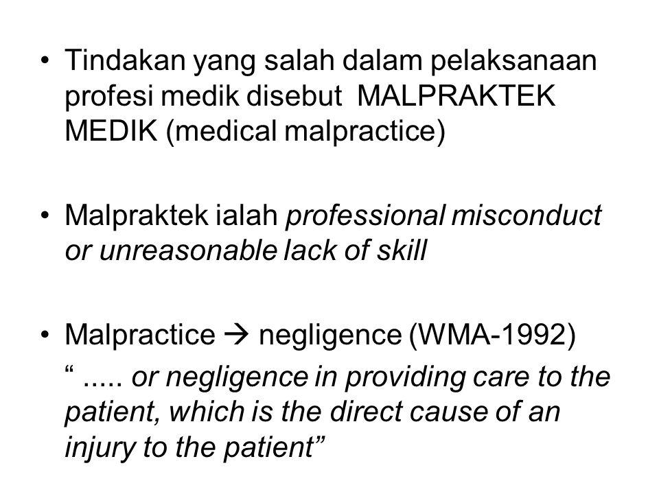 Tindakan yang salah dalam pelaksanaan profesi medik disebut MALPRAKTEK MEDIK (medical malpractice) Malpraktek ialah professional misconduct or unreaso