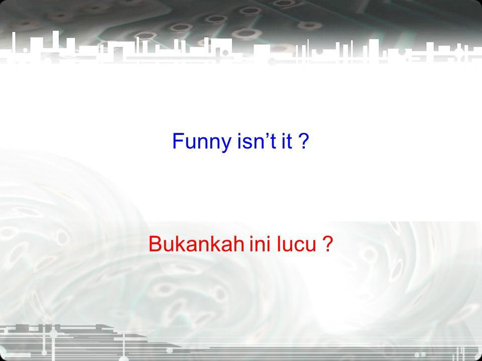 Funny isn't it Bukankah ini lucu