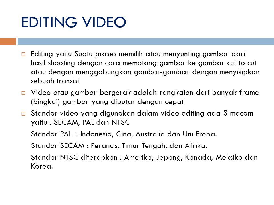 EDITING VIDEO  Editing yaitu Suatu proses memilih atau menyunting gambar dari hasil shooting dengan cara memotong gambar ke gambar cut to cut atau de